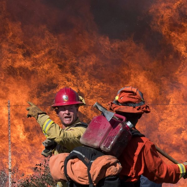 Firefighters prepare to put out flames on the road leading to the Reagan Library during the Easy Fire in Simi Valley on Oct. 30, 2019. (Credit: Mark Ralston / AFP / Getty Images)