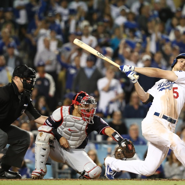 Corey Seager of the Los Angeles Dodgers strikes out to end the fifth inning in Game 2 of the National League Division Series against the Washington Nationals at Dodger Stadium on Oct. 4, 2019. (Credit: Sean M. Haffey / Getty Images)