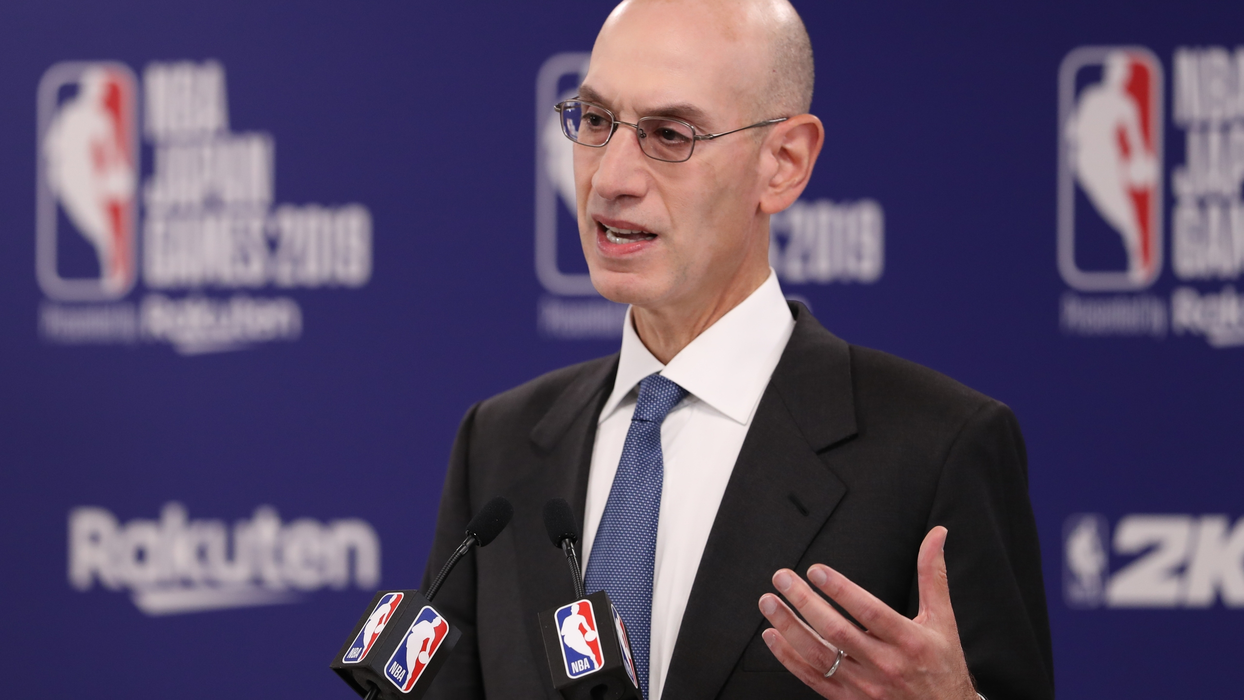 Commissioner of the National Basketball Association (NBA) Adam Silver speaks during a press conference prior to the preseason game between Houston Rockets and Toronto Raptors at Saitama Super Arena on October 08, 2019 in Saitama, Japan. (Credit: Takashi Aoyama/Getty Images)