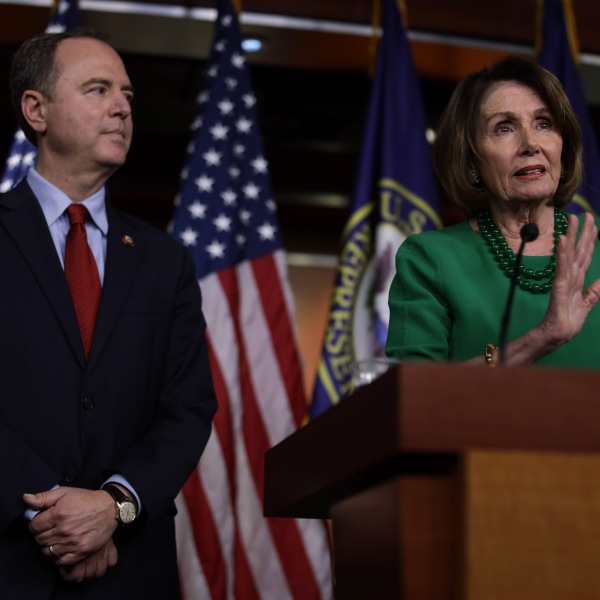 Speaker of the House Rep. Nancy Pelosi speaks as House Intelligence Committee Chair Rep. Adam Schiff listens during a news conference at the Capitol on Oct. 15, 2019. (Credit: Alex Wong / Getty Images)