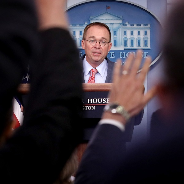 Acting White House Chief of Staff Mick Mulvaney answers questions during a briefing at the White House Oct. 17, 2019 in Washington, D.C. (Credit: Win McNamee/Getty Images)