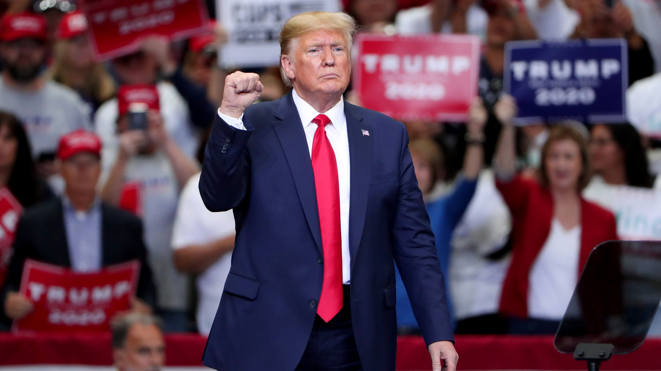 """Donald Trump speaks during a """"Keep America Great"""" Campaign Rally at American Airlines Center in Dallas on Oct. 17, 2019. (Credit: Tom Pennington/Getty Images)"""