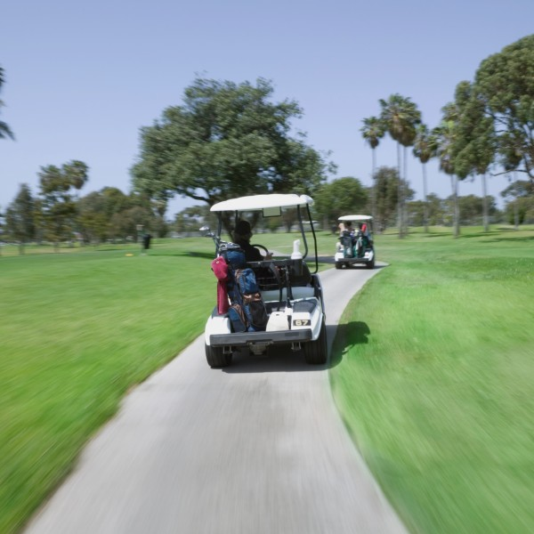 Golf carts on a golf course are seen in a file photo. (Credit: iStock/Getty Images Plus)