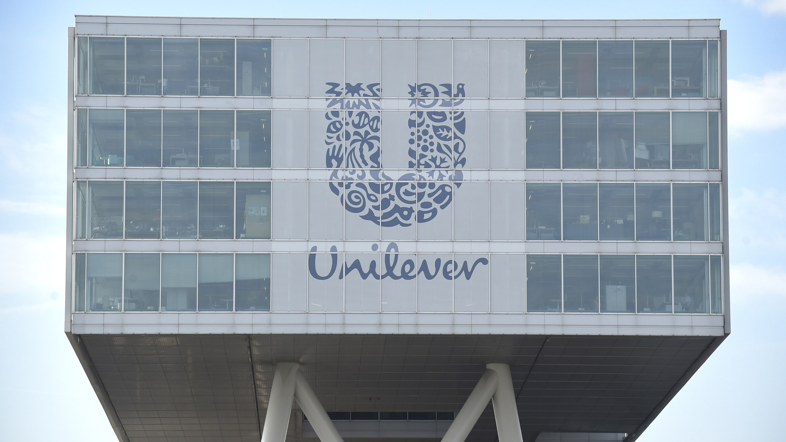 A picture taken on June 5, 2015 shows the logo of Unilever at the headquarters in Rotterdam in the Netherlands. (Credit: JOHN THYS/AFP/Getty Images)