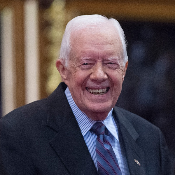 Former U.S. President Jimmy Carter receives delivers a lecture on the eradication of the Guinea worm, at the House of Lords on February 3, 2016 in London. (Credit: Eddie Mullholland-WPA Pool/Getty Images)