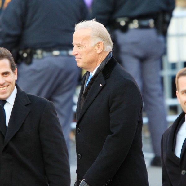 Then-Vice-President Joe Biden and sons Hunter Biden (L) and Beau Biden walk in the Inaugural Parade Jan. 20, 2009, in Washington, D.C. Barack Obama was sworn in as the 44th President of the United States, becoming the first African-American to be elected President of the U.S. (Credit: David McNew/Getty Images)