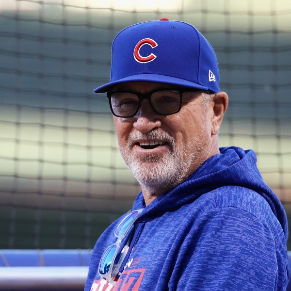 Manager Joe Maddon of the Chicago Cubs looks on before game three of the National League Championship Series against the Los Angeles Dodgers at Wrigley Field on October 17, 2017 in Chicago, Illinois. (Credit: Jonathan Daniel/Getty Images)