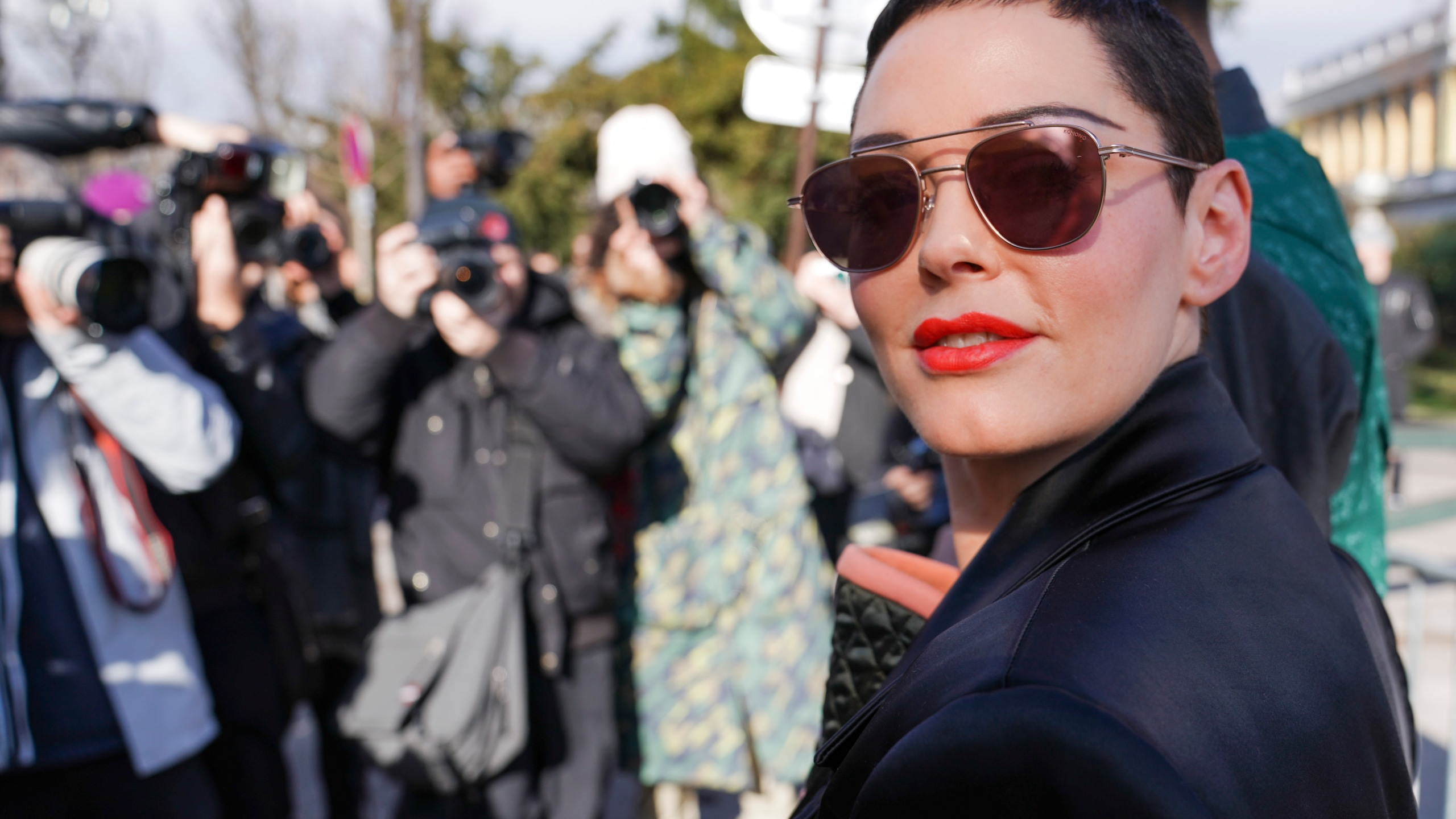 Rose McGowan attends the Vivienne Westwood show as part of the Paris Fashion Week Womenswear Fall/Winter 2018/2019 on March 3, 2018, in Paris, France. (Credit: Getty Images)