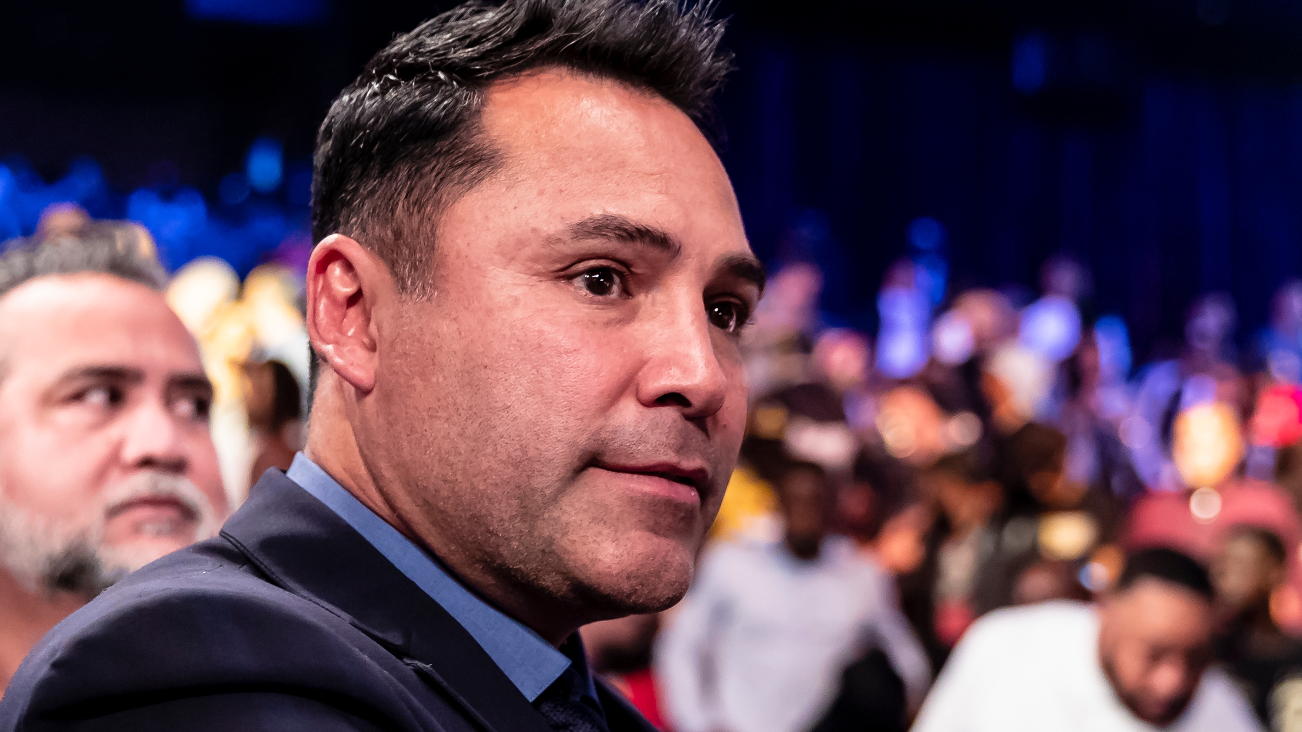 Oscar De La Hoya looks on after the WBC featherweight title bout between Gary Russell Jr. and Joseph Diaz Jr. on May 19, 2018, in Oxon Hill, Maryland. (Credit: Scott Taetsch / Getty Images)