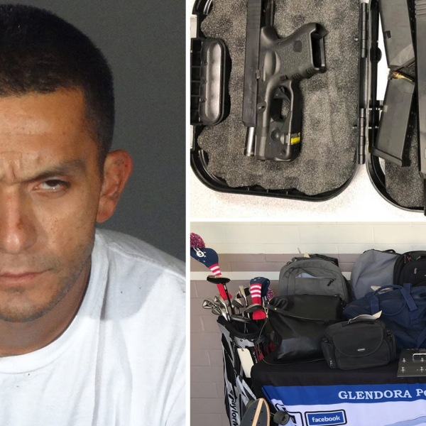 Eric Ramirez seen next to property he stolen in photos released by the Glendora Police Department on Oct. 2, 2019.