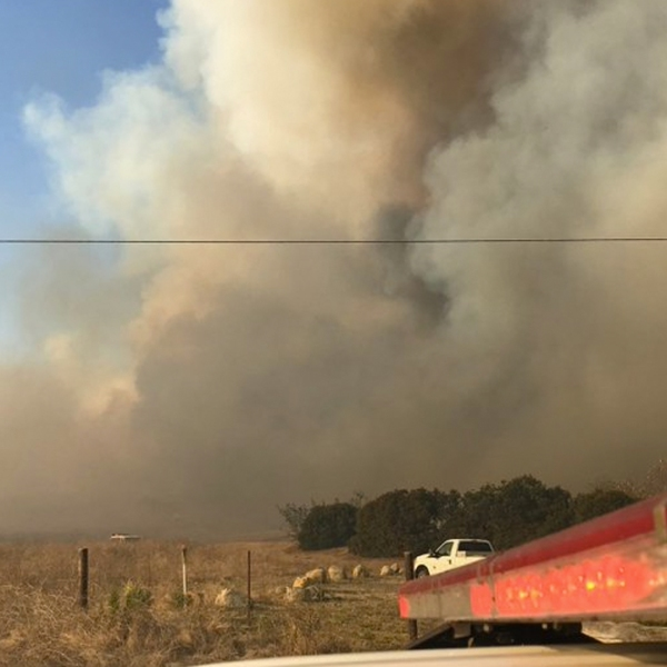 A fire that started in Santa Barbara County on Oct. 17, is seen in an image shared by the Goleta Police Department.