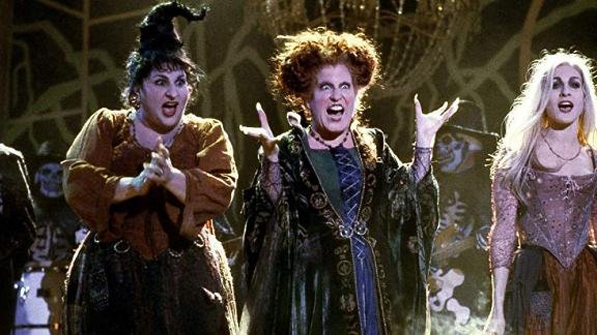 """The Sanderson sisters are seen in a still image from the 1993 film """"Hocus Pocus."""" (Credit: Disney)"""