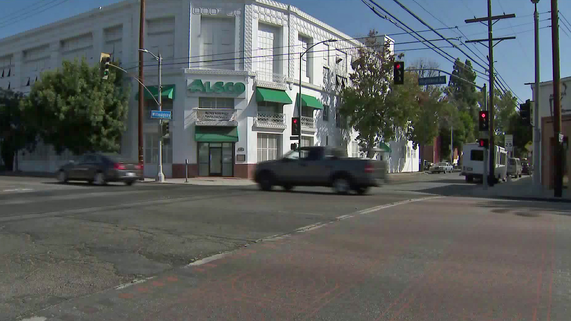The intersection of Highland and Willoughby avenues is shown hours after a fatal hit-and-run crash occurred there on Oct. 18, 2019. (Credit: KTLA)