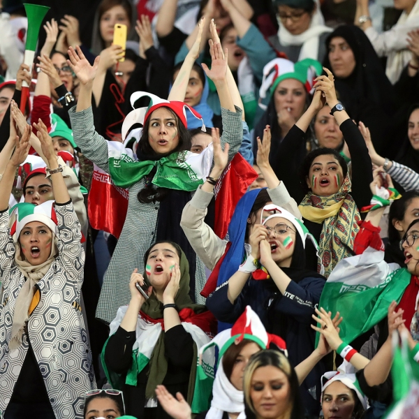 Iran women attend FIFA soccer game for first time in decades BC-ML--Iran-Women at Match,5th Ld-Writethru
