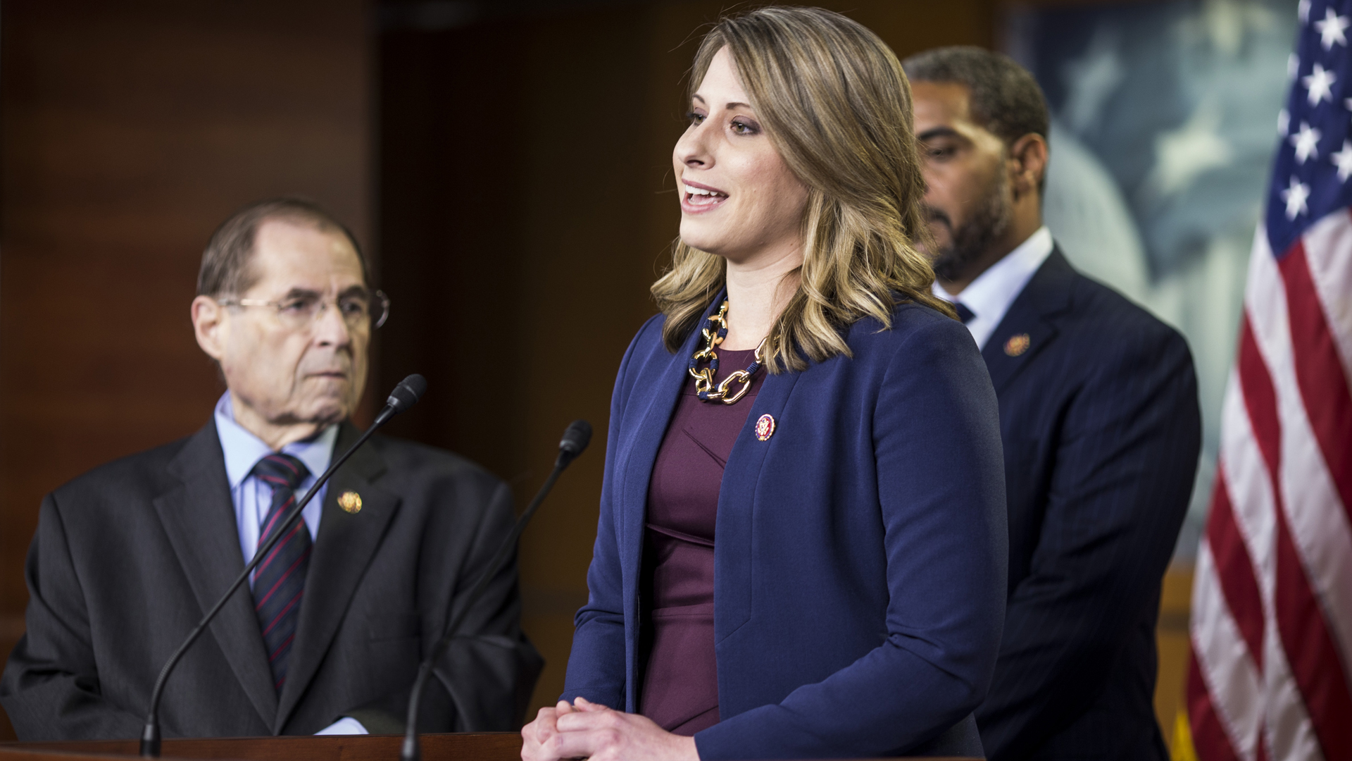 Rep. Katie Hill (D-CA) speaks during a news conference on April 9, 2019 in Washington, D.C. (Credit: Zach Gibson/Getty Images)