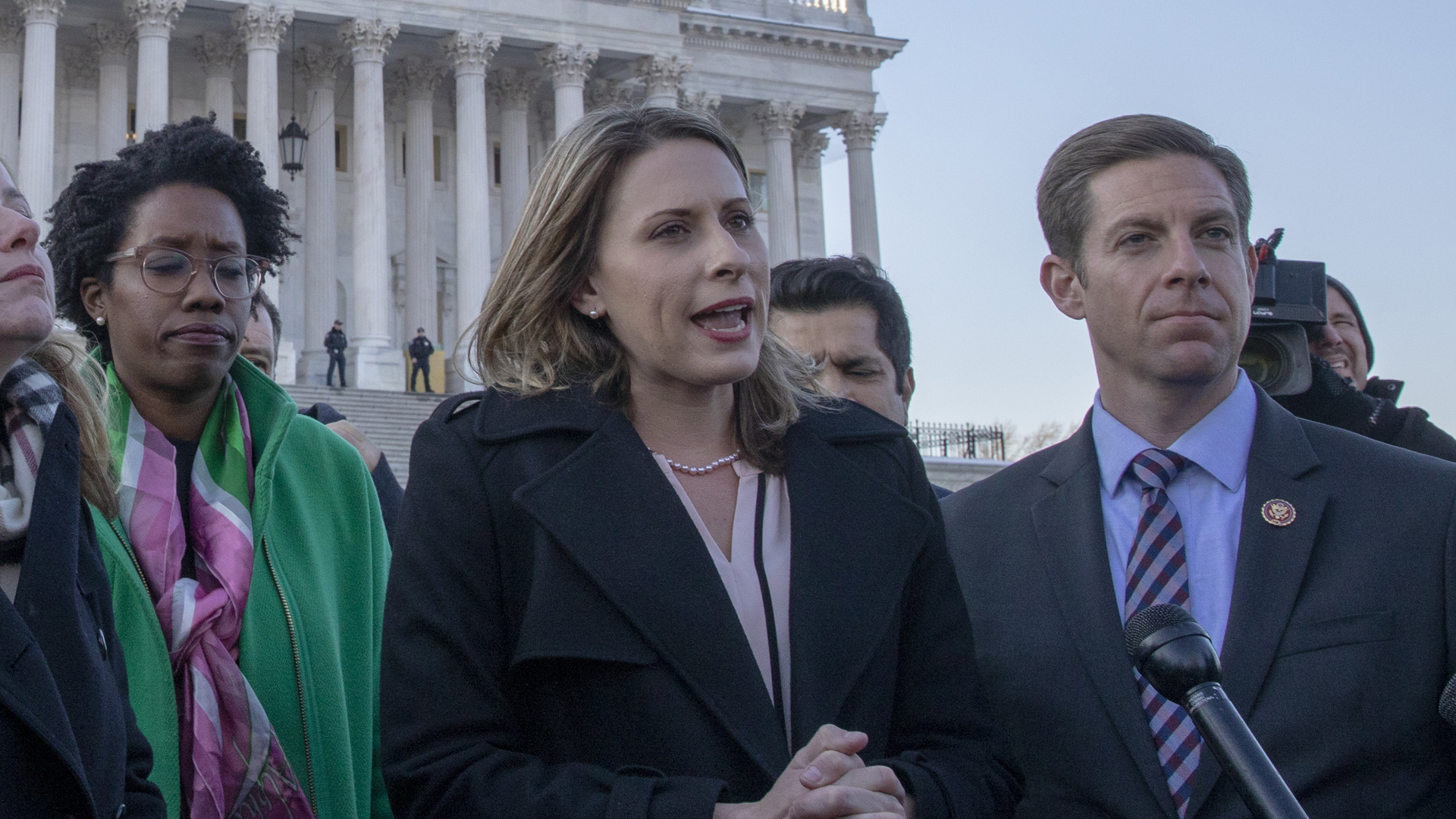U.S. Rep Katie Hill (D-CA) speaks to media outside the U.S. Capitol on Jan. 15, 2019, in Washington, D.C. (Credit: Tasos Katopodis/Getty Images)