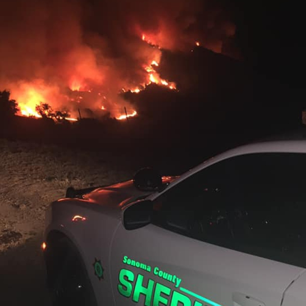 Residents were evacuated in Geyserville as the Kincade fire exploded in size on Oct 24, 2019. (Credit: Sonoma County Sheriff's Office)