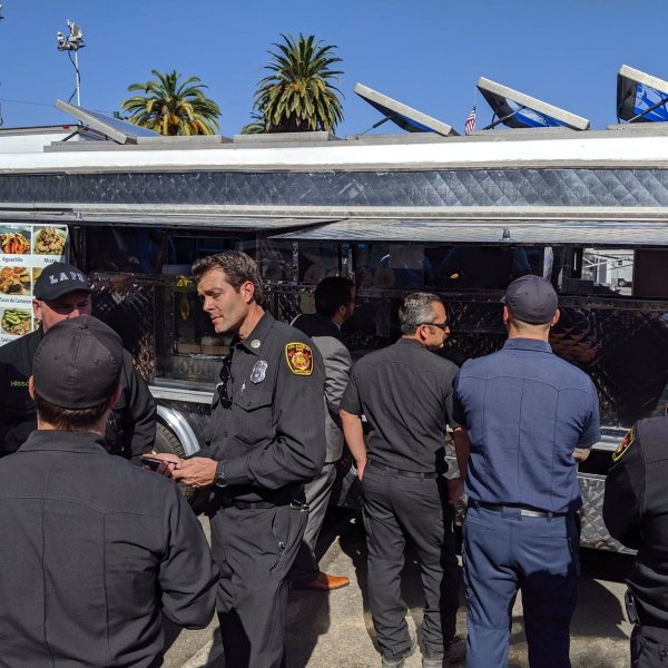 Los Angeles Mayor Eric Garcetti tweeted this image of a taco truck he said was sent by LeBron James to crews battling the Getty Fire on Oct. 29, 2019.