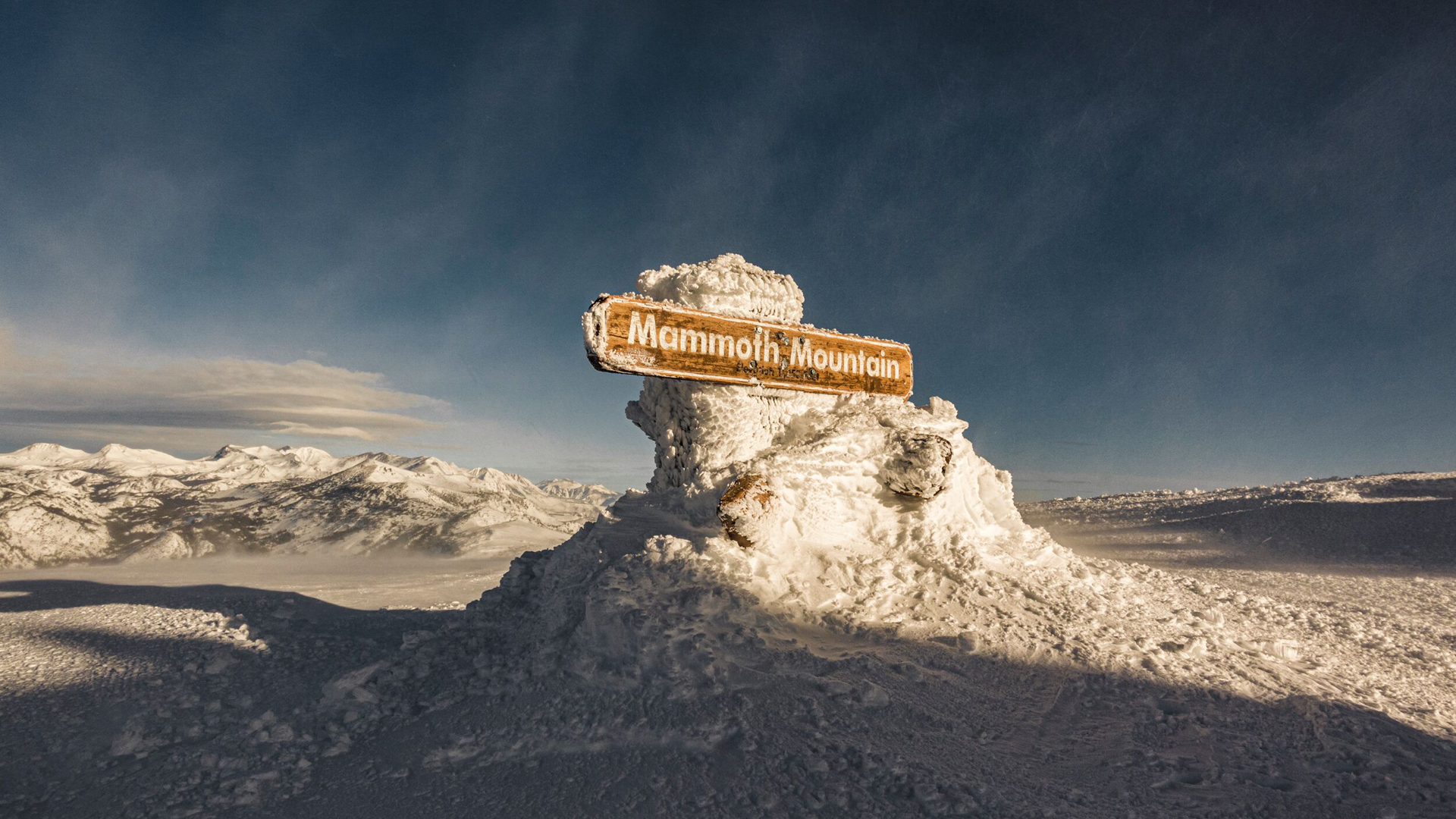 The old Mammoth Mountain summit sign is seen in an undated photo. (Credit: Peter Morning (Mammoth Mountain)