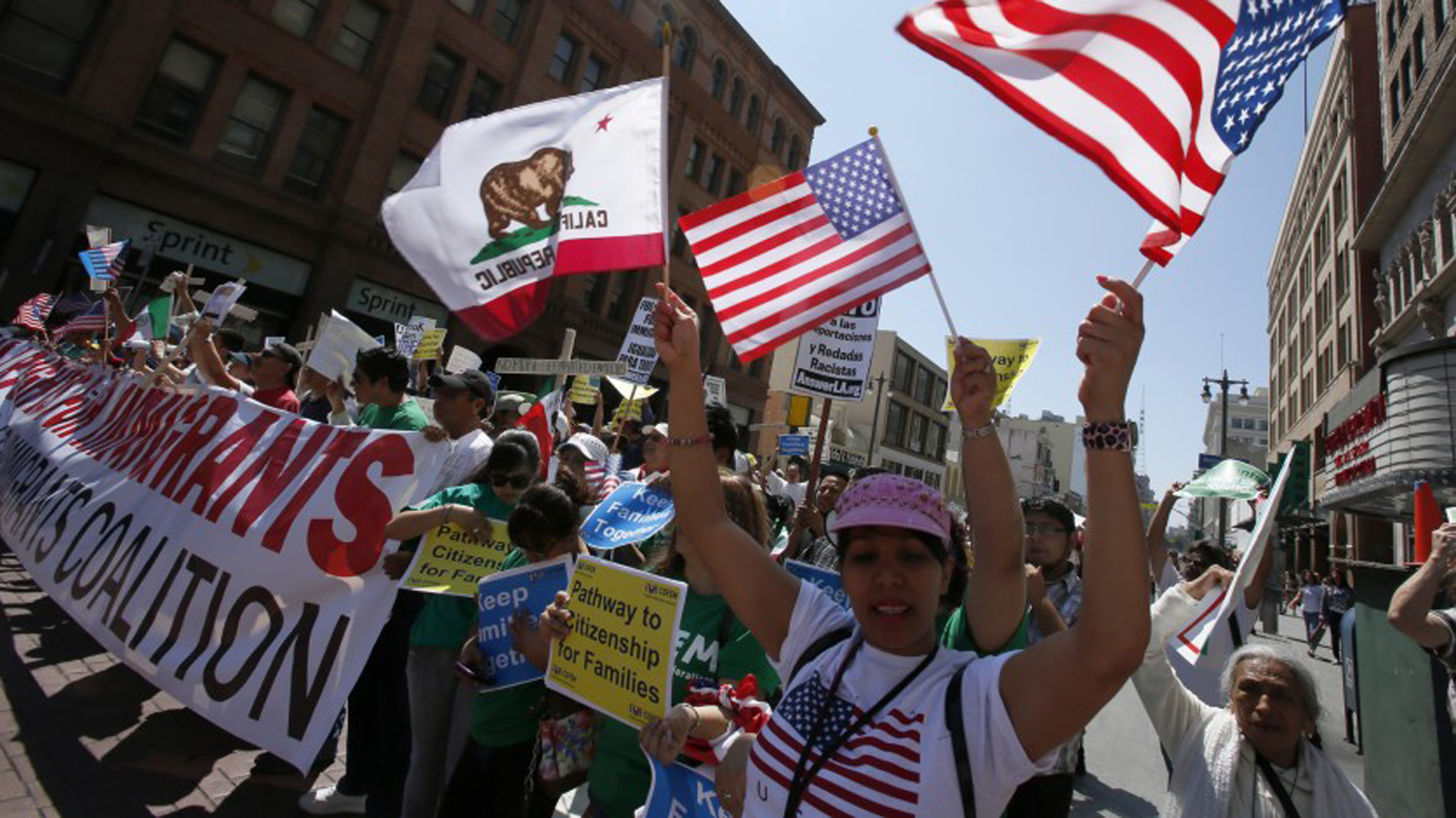 In this undated photo, demonstrators march in downtown Los Angeles in support of comprehensive immigration reform.(Credit: Irfan Khan / Los Angeles Times)