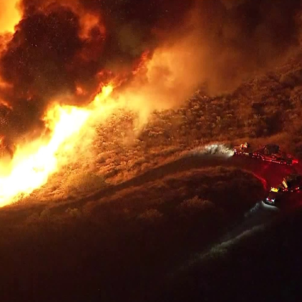 A brush fire, dubbed the Maria Fire, ignited on top of South Mountain, south of Santa Paula, on Oct. 31, 2019. (Credit: KTLA)