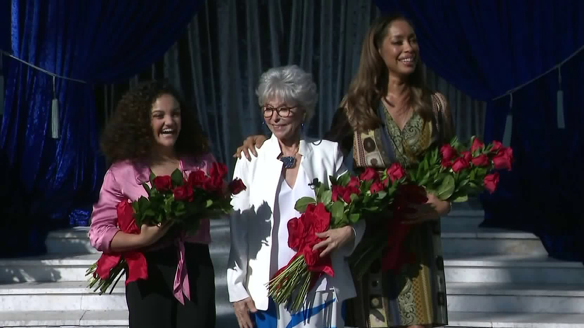 Laurie Hernandez (Left), Rita Moreno (Center) and Gina Torres were named co-grand marshals of the 2020 Tournament of Roses. (Credit: KTLA)