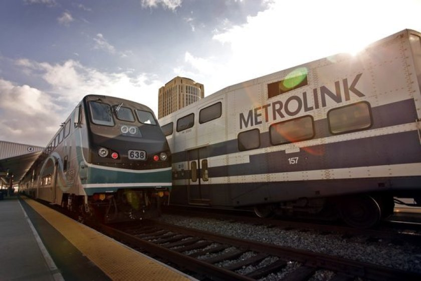 Metrolink trains are seen at Union Station in downtown Los Angeles in this undated photo. (Credit: Al Seib / Los Angeles Times)