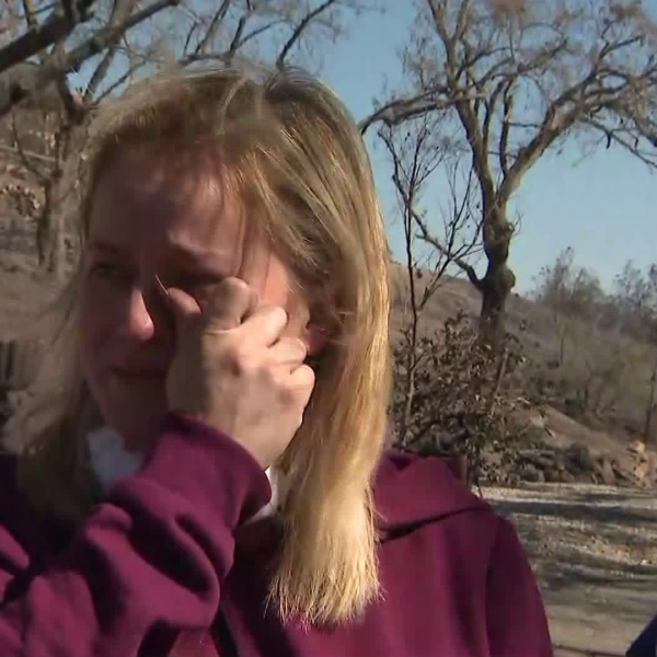 Nancy describes losing her family's home in Simi Valley on Oct. 31, 2019. (Credit: KTLA)