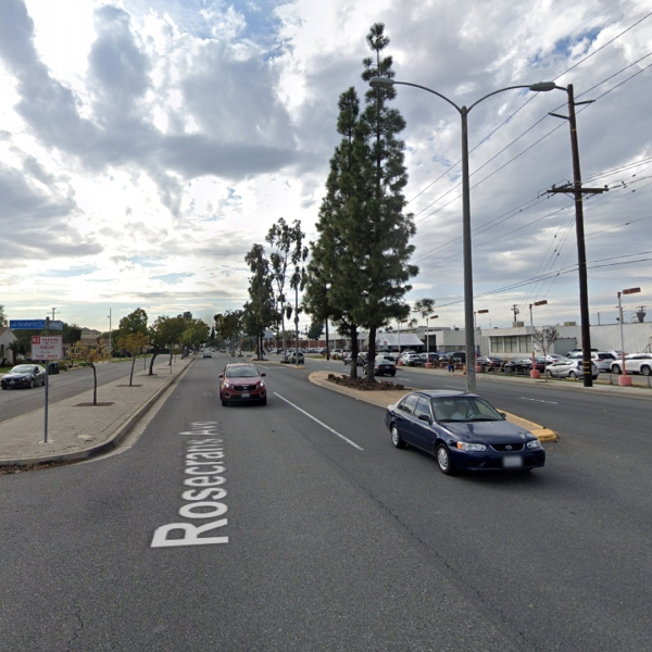 The 12500 block of Rosecrans Avenue in Norwalk appears in an image from Google Maps.