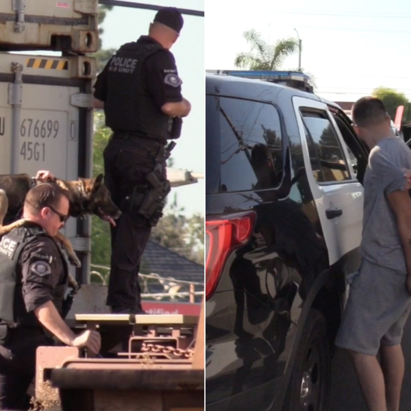 On the left, police conduct a search at the train tracks near Valencia Drive and Euclid Street in Fullerton on Oct. 23, 2019. On the right, an officer detains a burglary suspect. (Credit: OC Hawk)
