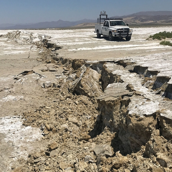 A USGS Earthquake Science Center Mobile Laser Scanning truck scans the surface rupture near the zone of maximum surface displacement of the magnitude 7.1 earthquake that struck the Ridgecrest area. (Credit: Ben Brooks / U.S. Geological Survey)