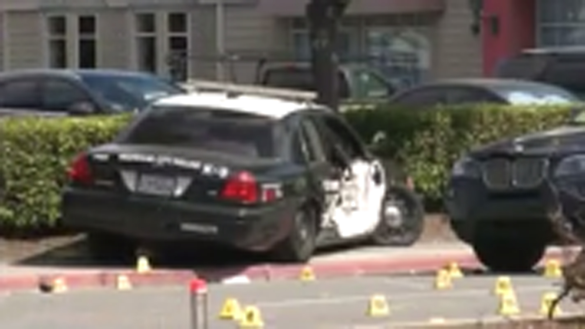 A police cruiser hit a pedestrian after veering out of control in Redwood City on Sept. 18, 2019. (Credit: KPIX)