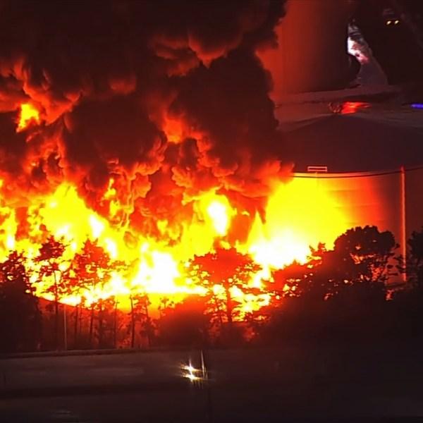 An explosion and fire ripped through storage tanks at an oil refinery near Crockett, California, on Oct. 15, 2019. (Credit: KPIX via CNN)