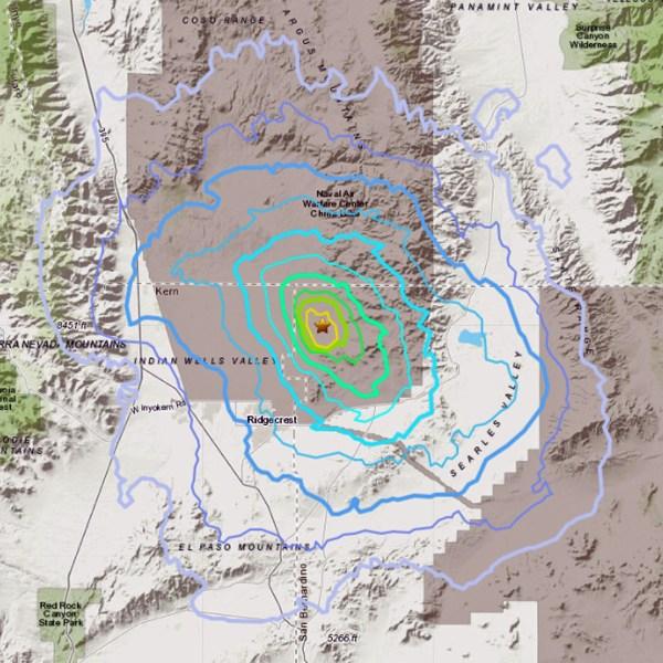 A preliminary magnitude 3.6 earthquake struck near Ridgecrest on Oct. 1, 2019. (Credit: USGS)