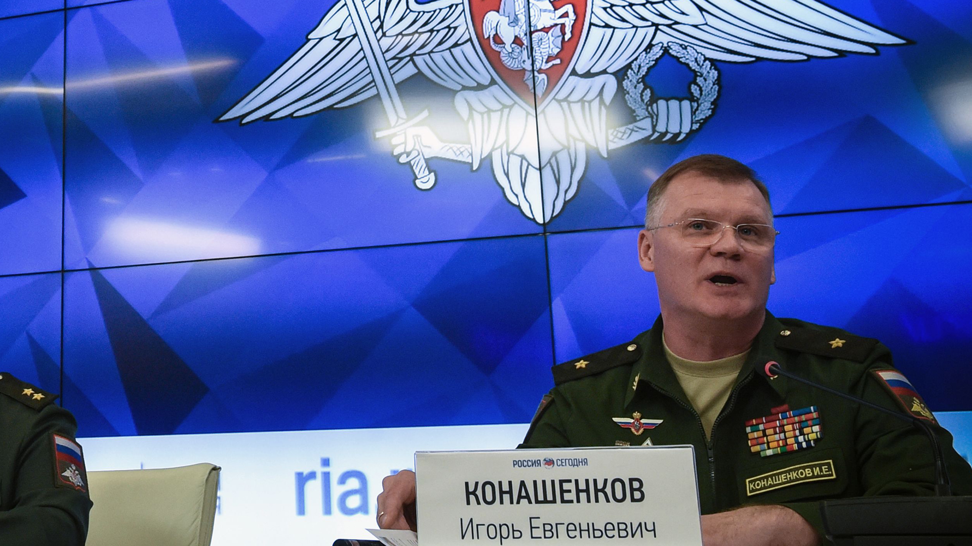 Russia's defense ministry spokesman Maj. Gen. Igor Konashenkov attends a press briefing dedicated to the crash of the Malaysia Airlines Boeing 777 plane operating flight MH17 in Moscow on Sept. 17, 2018.(Credit: VASILY MAXIMOV/AFP/Getty Images)