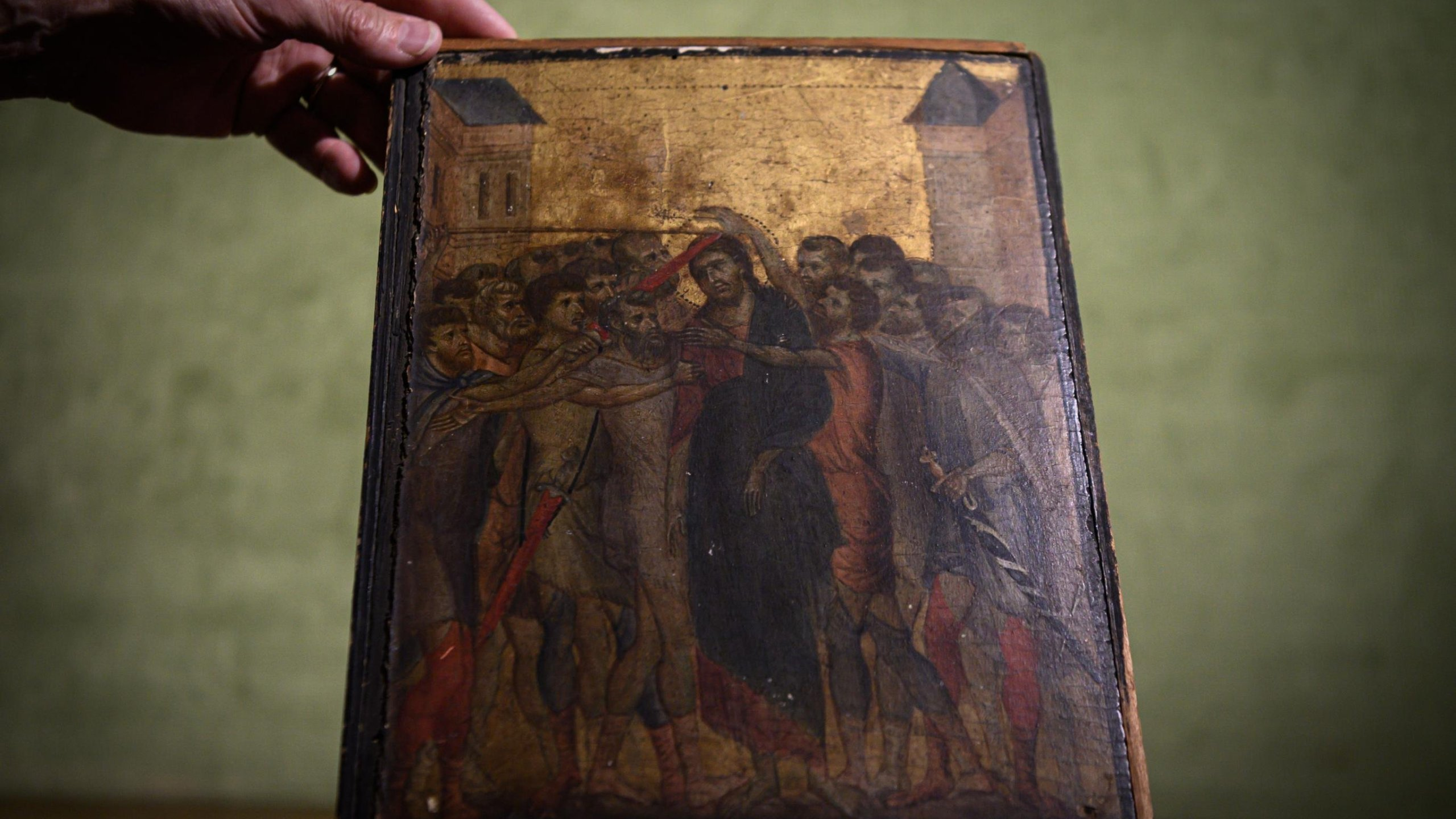 A lost masterpiece by 13th-century Florentine painter Cimabue that was found in a kitchen near Paris. (Credit: Philippe Lopez/Getty Images via CNN)