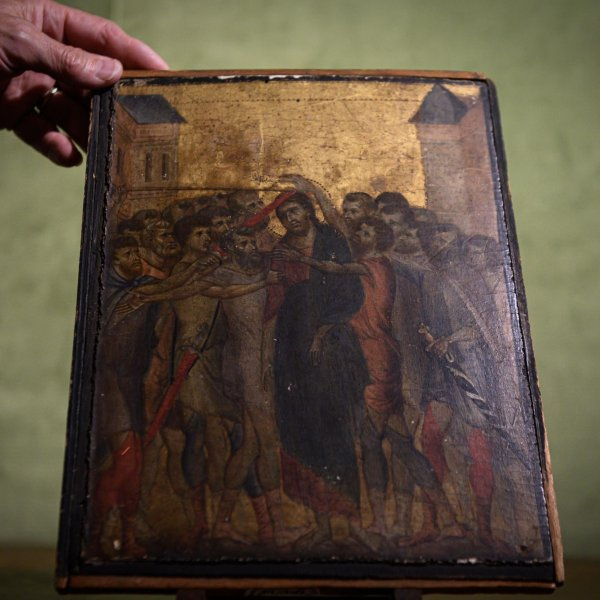 A lost masterpiece by 13th-century Florentine painter Cimabue that was found in a kitchen near Paris. (Credit: Philippe Lopez/Getty Images via CNN)