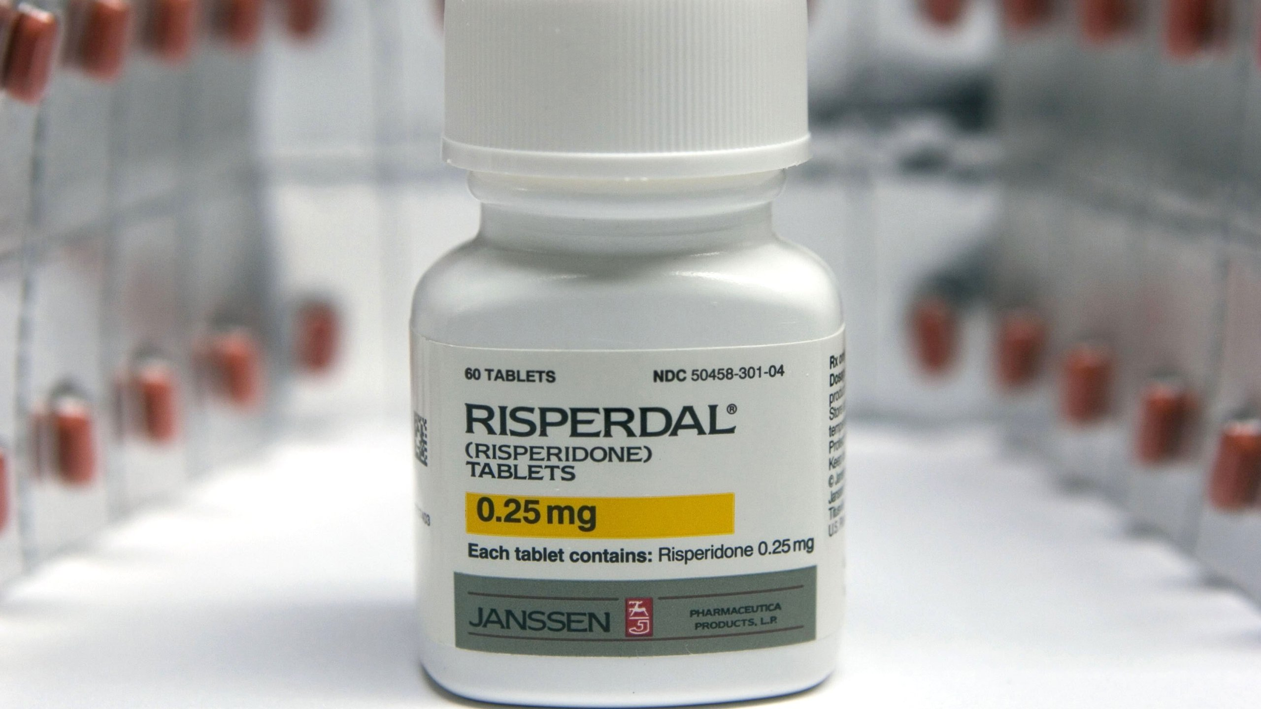 Johnson & Johnson's drug Risperdal is seen in an undated photo. (Credit: JB Reed/Bloomberg via Getty)