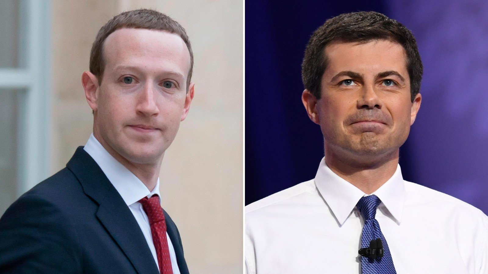 Facebook CEO Mark Zuckerberg and presidential candidate Pete Buttigieg are seen in file photos by the Associated Press and Getty Images.