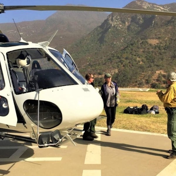 A rescue team lands at a Helibase on Oct. 28, 2019, after rescuing a hiker who was lost for days in Sequoia National Park. (Credit: Inciweb via CNN)