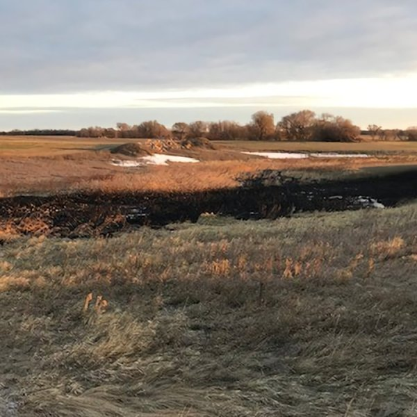 A pipeline leaked thousands of gallons of oil on Oct. 29, 2019, in North Dakota. (Credit:TC Energy via CNN)