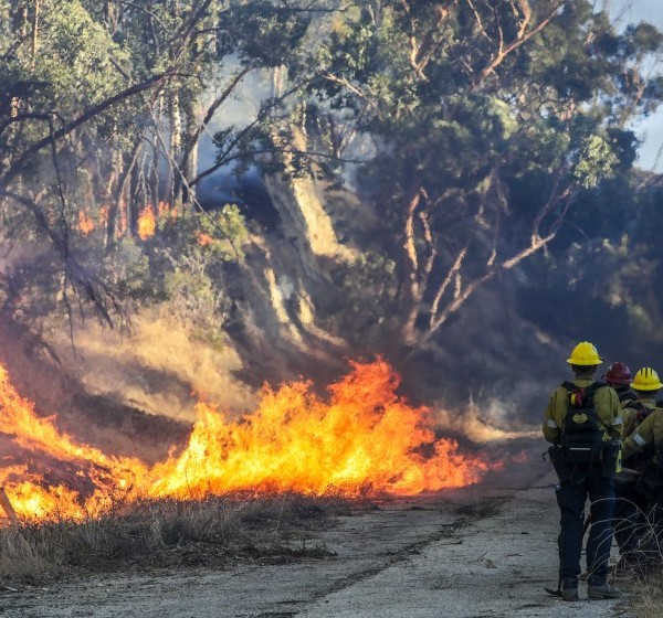 Firefighters kept an eye on the Saddleridge fire burning behind a hospital in Slymar on Oct. 11, 2019. (Credit: Irfan Khan / Los Angeles Times)