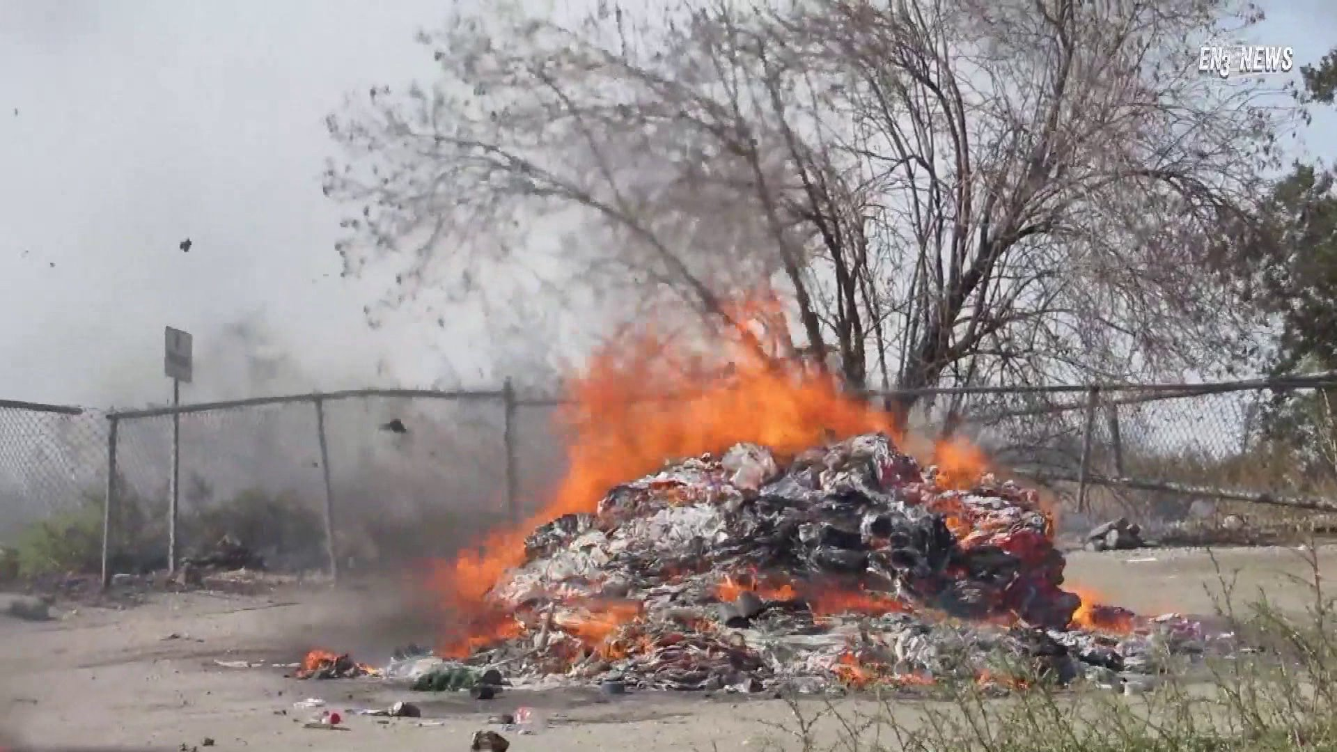 The spot where a garbage truck dumped a burning load, sparking the Sandalwood Fire that destroyed several residences in Calimesa on Oct. 10, 2019. (Credit: KTLA)
