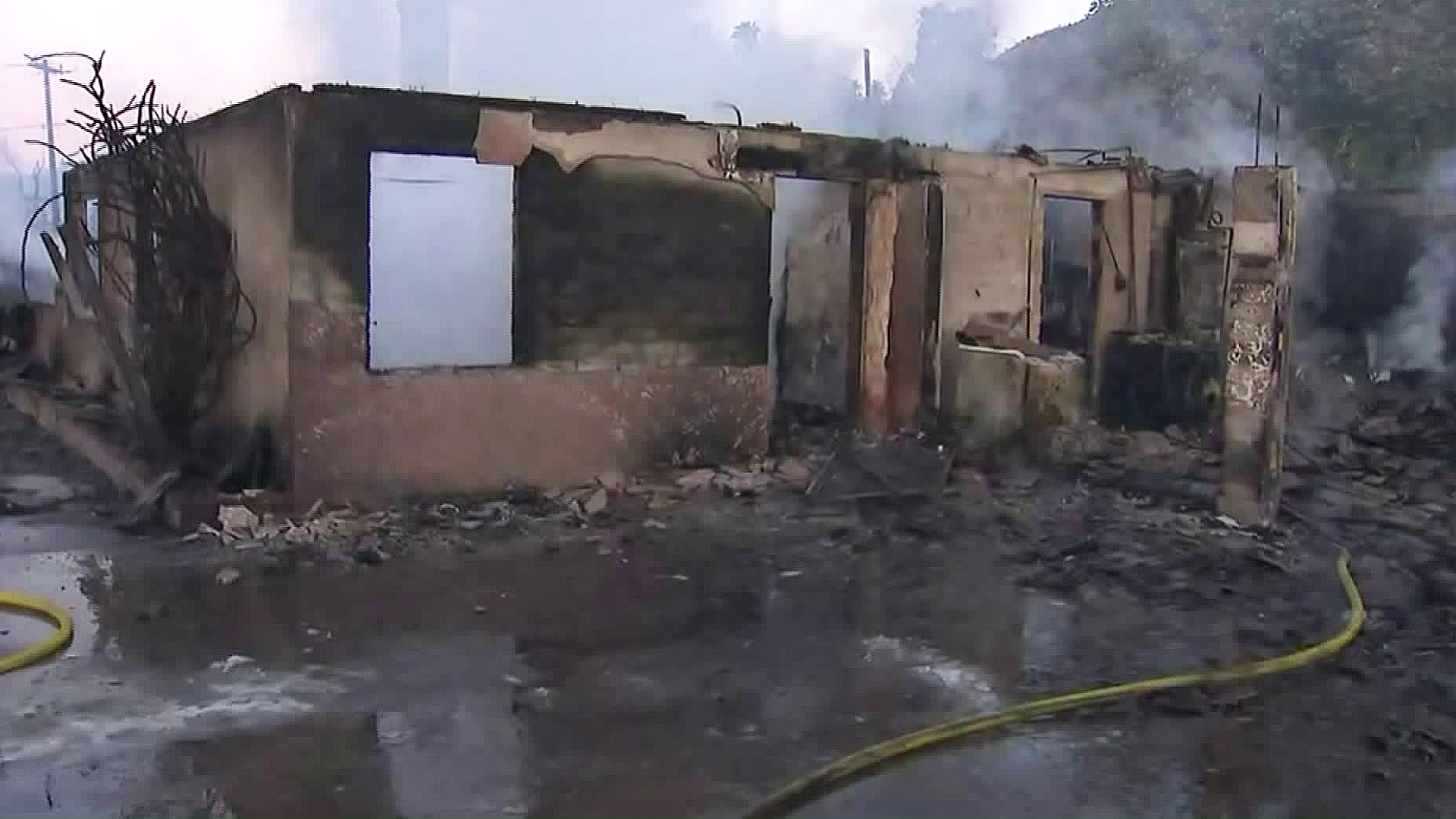 A destroyed home is seen in the wake of the Hillside Fire on Oct. 31, 2019. (Credit: KTLA)