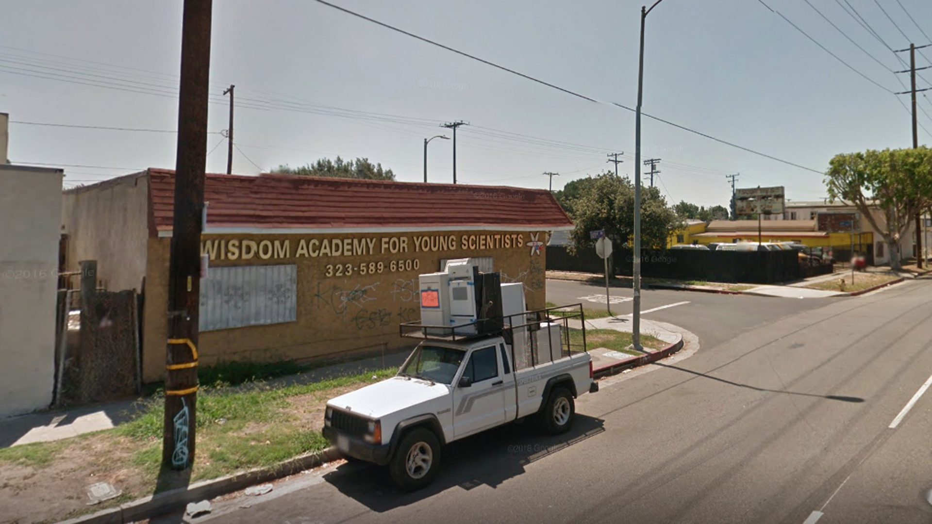 The Wisdom Academy for Young Scientists in South L.A. appears in an image from Google Maps.