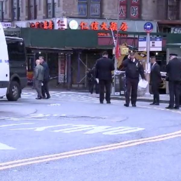 Officers respond to the scene of a rampage that resulted in the deaths of four people in New York on Oct. 5, 2019. (Credit: WABC-TV via CNN)