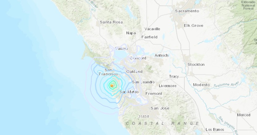 An earthquake struck south of San Francisco on Oct. 5, 2019. (Credit: U.S. Geological Survey)