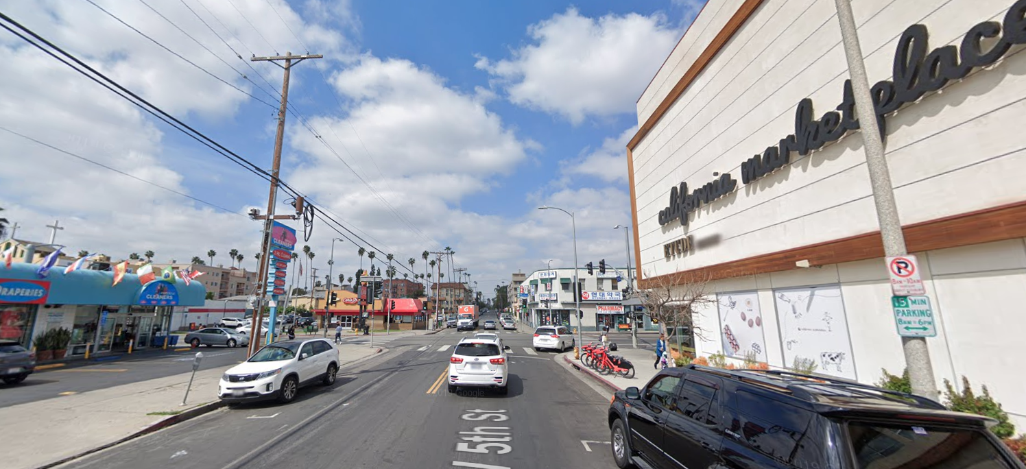 The area of 5th Street and Western Avenue in Koreatown is seen in a Google Maps Street View image.