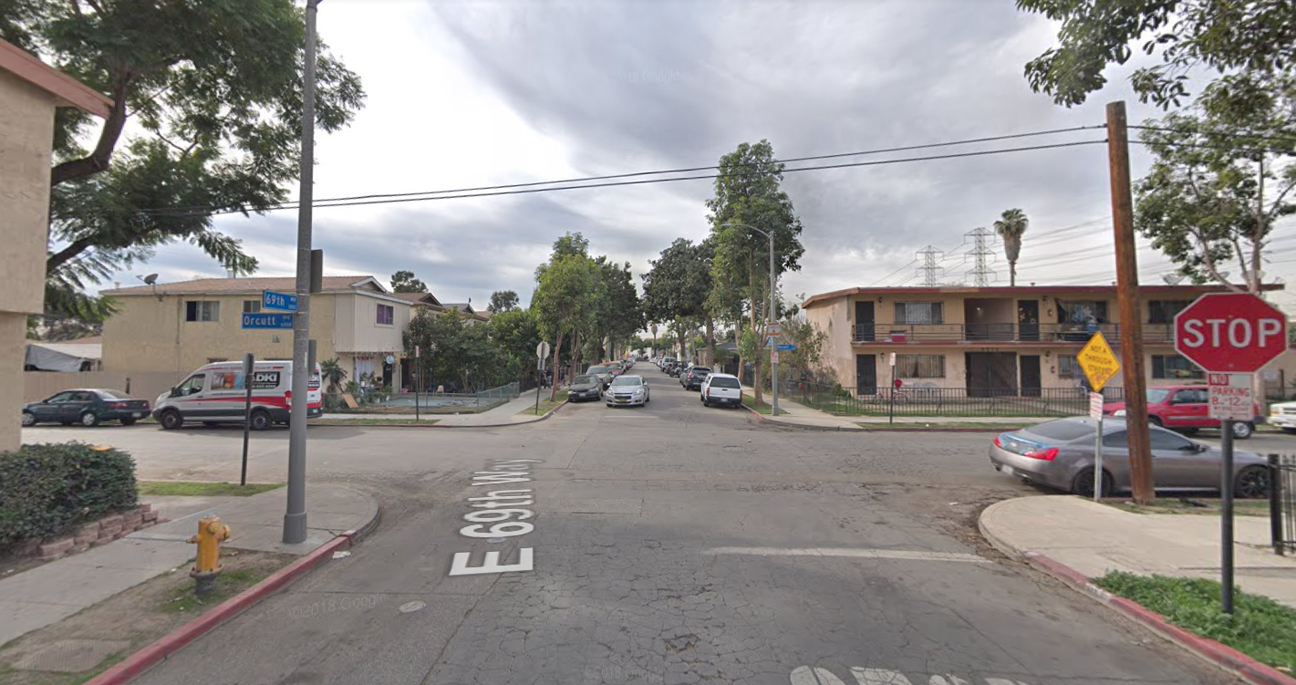The 100 block of East 69th Way in Long Beach is seen in a Google Maps Street View image.