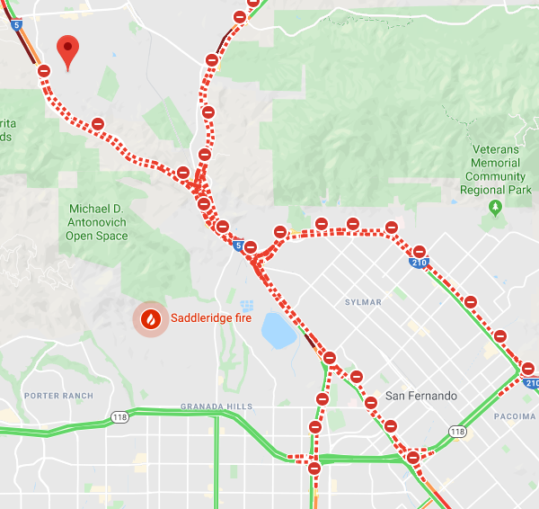 A Google Maps screenshot from the morning of Oct. 11, 2019, shows traffic conditions due to the Saddleridge Fire.